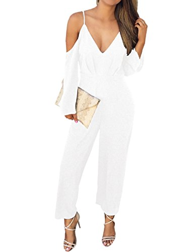 LRUD Sexy Damen Lange Overall Ärmellos Abend Party Hohe Taille Strampler Playsuit Jumpsuit