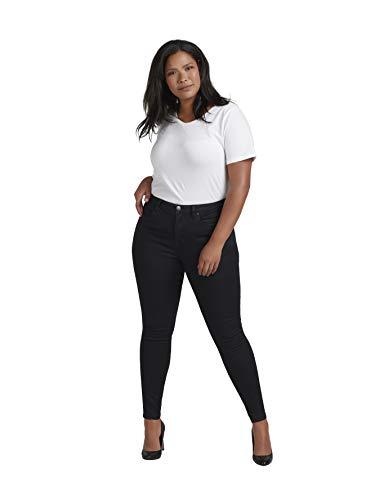 Zizzi Amy Damen Jeans Super Slim Jeanshose Stretch Hose Große Größen 42-56, Schwarz, 46 / 78 cm