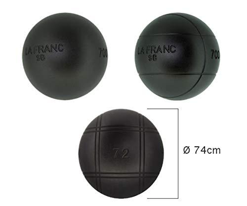 LA FRANC Boulekugeln SB (Soft Black) - Wettkampfboulekugeln (710g, 74mm)