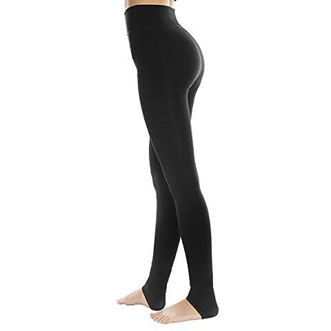 TopElek Leggings Collant en Laine Triplure Doux, Haute Taille Leggings Elastiques, Hiver Chaud Leggings (Noir)