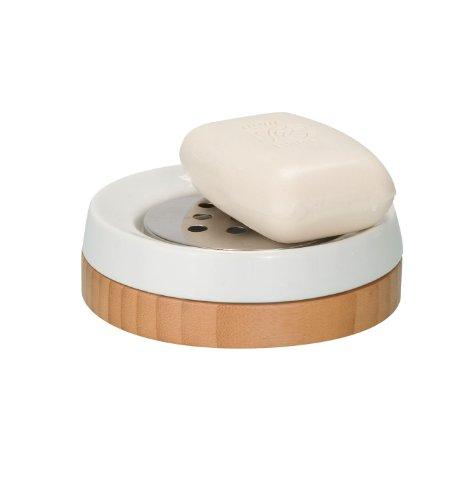 WENKO 17677100 Accesorios para el baño de porcelana Bamboo, Cerámica, 11.5 x 3.8 x 11.5 cm, Blanco