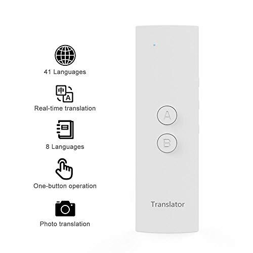 Ceepko - Dispositivo traduttore Intelligente per Lingua, Portatile, istantaneo, Supporta 41 Lingue, traduzione Libera per apprendimento, Viaggi, Affari e Shopping Bianco