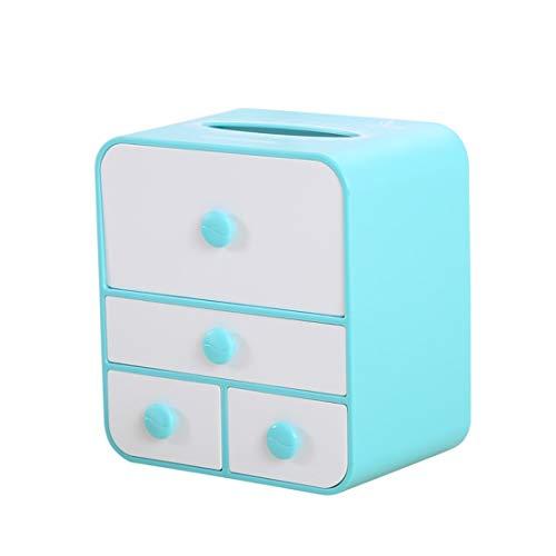 WAVENI Multifunktions-Gesichtsablage für die Schublade der Büroschublade Kosmetiktablett für Tissue-Box (Color : Blue Large Model)