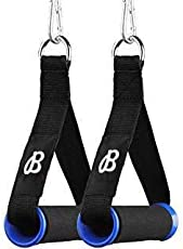 BFIT NH-5-Pair Nylon Exercise Bands Upgraded Gym Resistance TPR Waffle Grip Webbing Heavy Gauge Welded Bands Handles with Solid ABS Cores, Set of 2