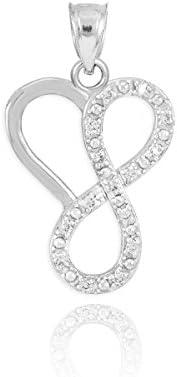 Fine 14k White Gold Diamond Infinity Heart Charm Pendant