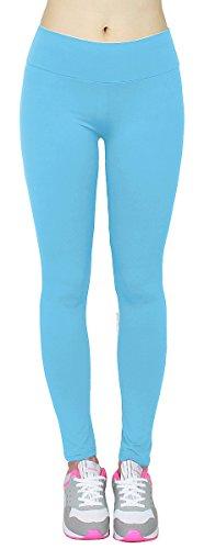 High Waist Leggings Damen einfarbige Tanz Leggings Jogginghose Yoga Pants Gymnastik Hose - JL154 (Hellblau)