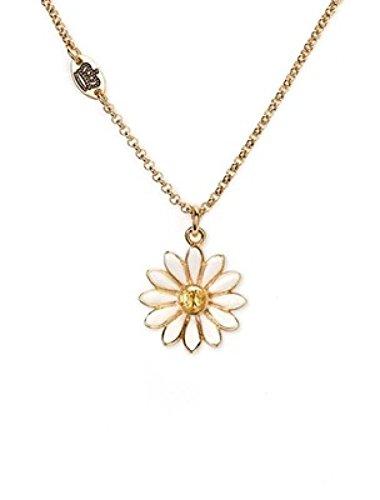 HGDR Damen Halskette Zirkon Emaille Glasur Creme Weiß Gänseblümchen Blume Anhänger Frauen Halskette Schmuck,Gold-44.5cm+7.5cm