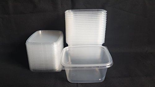 Set 20 Stück 300ml Kleine Einweg Kunststoff Rechteckig Behälter Eimer mit Deckel für Lebensmittel. New