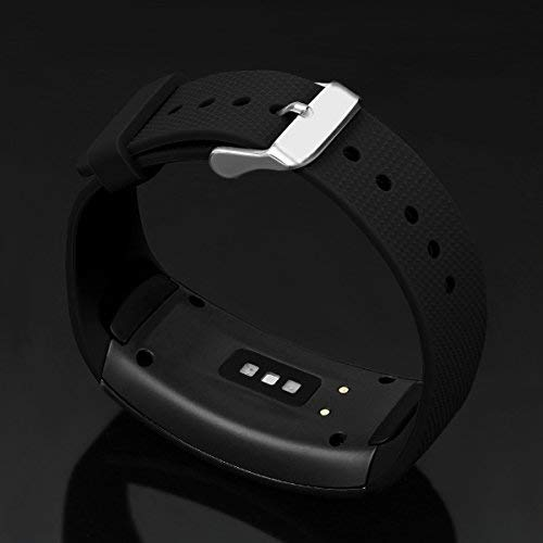 """Taslar Watch Band Soft Silicone Sport Strap for Samsung Gear Fit 2 SM-R360 / Fit 2 Pro Smart Watch (Fits 4.96""""-8.38"""") (Black)"""