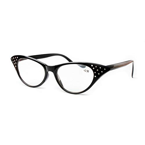 Katzenauge Lesebrille Damen - Haodasi Mode Chic Elegant Retro Harz Linse Vollrand Rahmen Brillen Dioptrie +1.0 bis +3.5