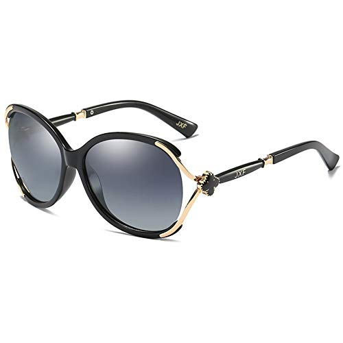 BFQCBFSG Damen Sonnenbrillen Retro Large Frame Sonnenbrillen Rundes Gesicht Uv Mode Blumendekoration Persönlichkeit Spiegel Beine Harajuku Stil Urlaub Spielen Polarisierte Brille, Schwarz