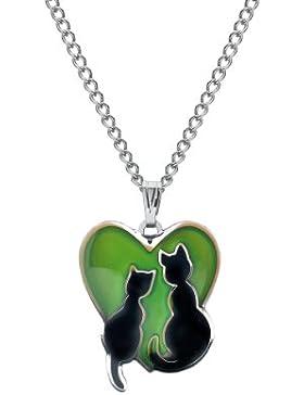 Halskette mit wechselnden Farben und Herz-Katzen