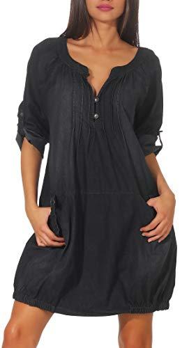 Malito Damen Jeanskleid | Maxikleid mit Taschen | schickes Freizeitkleid - Kostüm 6255 (dunkelgrau) Jeans Kleid