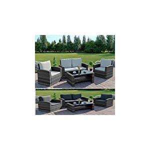Abreo Mixed Grey Rattan Weave Sofa Set Garden Furniture Conservatory Light/Dark Cushions (Dark Mixed Grey with Dark Cushions, 2 Seater Sofa)