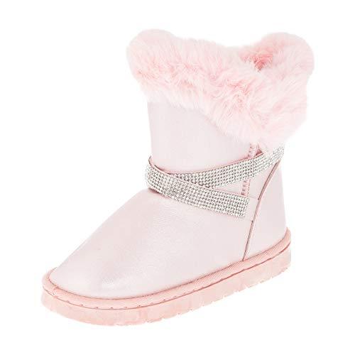Gefütterte Mädchen Stiefel Stiefeletten Winter Schuhe mit Strass und Fell M499rs Rosa 27 EU - Winter Stiefel Rosa Fell