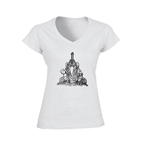Elephant Sweet Smiling King Earings Damen V-Neck T-Shirt Weiß