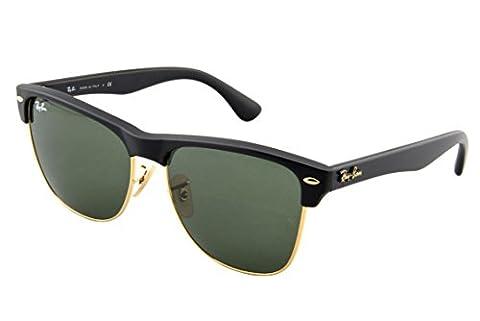 Ray Ban Unisex Sonnenbrille CLUBMASTER OVERSIZED, Gr. Large (Herstellergröße: 57), Schwarz (Gestell: schwarz, Gläserfarbe: grün klassisch, Umrandung der Gläser: gold 877)