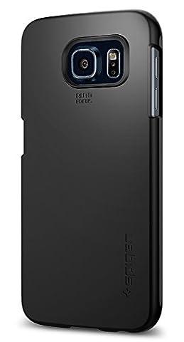 Samsung Galaxy S6 Hülle, Spigen® [Thin Fit] Passgenaues [Schwarz] Schlanke Premium-Case Schutzhülle / Samsung S6 Hülle - Black