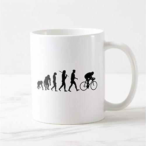 Erjialiu Kaffeetasse Mountainbike Evolution Kaffeetasse Bier Tee Tasse Fahrrad Geschenke für Radfahrer Lustige Outdoor Sports Cups Geschenke,Weiß