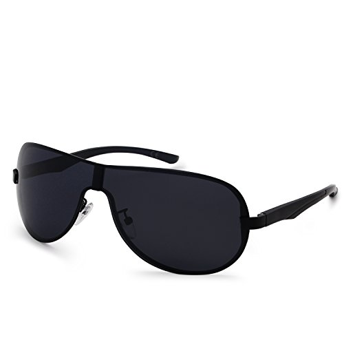 AMZTM Herren Modern Gut Aussehend Groß Pilotenbrille Winddicht Aviator Sonnenbrille Polarisiert Sport Radfahren Laufen Metallrahmen Fahren Brille (Black Grey, 66)