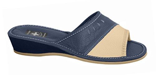 Natural Line, Pantofole donna Blu (Navy & Pink)