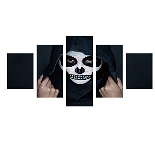 upnanren 5 Stück, 骷髅 Gesicht Halloween Spezial High-Definition-Tintenstrahlkreative rahmenlose Malerei Wohnzimmer dekorative Malerei