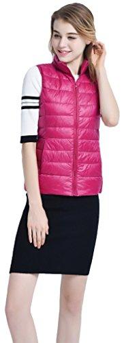 Sawadikaa Damen Gefüttert Ultra Leicht Verpackbar Kissen Puffer Daunen Jacke Weste Bodywarmer Rose