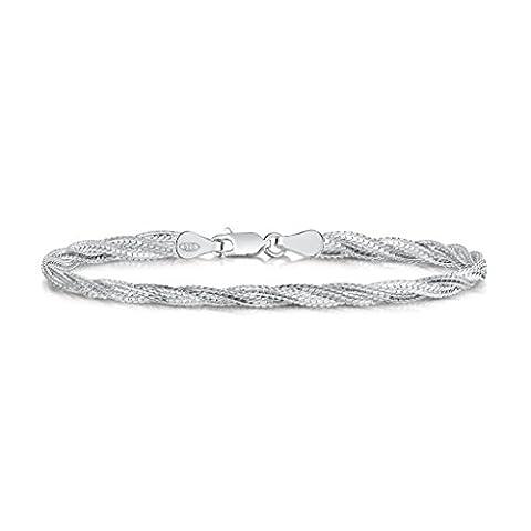 Amberta 925 Sterlingsilber Damen-Armkette - Herringbone Kette - Fischgrät Armband