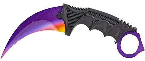 ELFMONKEY Karambit Messer violett mit roten und gelben Akzenten | extra scharf | Taschenmesser Einhandmesser Rettungsmesser Angelmesser Jagdmesser Survival