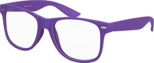 Balinco Hochwertige Nerd Sonnenbrille mit Klarglas matte Rubber Retro Vintage Unisex Brille mit Federscharnier - 17 verschiedene Farben/Modelle wählbar (Lila)