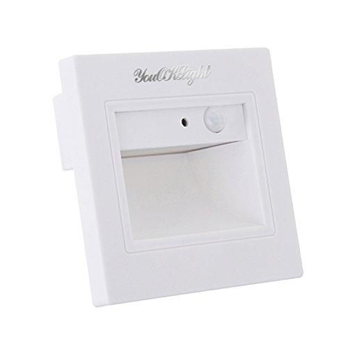 LEDMOMO Schritt Treppen Deck LED Licht Bewegungssensor Footlight Square Wandleuchte Lampe für Treppen Schritt Ecke (Weiß)