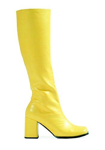 Buckle Shoes BS12733 Damen-GoGo-Stiefel, 1960er-/1970er-Retro-Look, Gelb - gelb - Größe: 41 EU