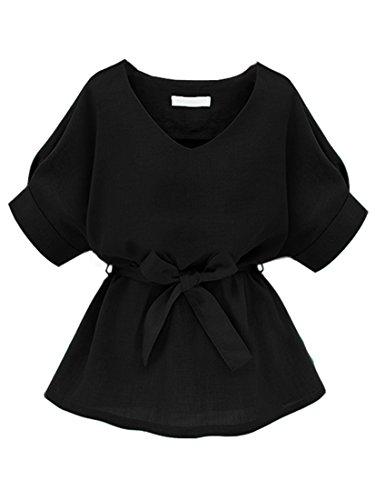 ROMWE Damen Kurzarm Bluse mit Schleife am Taille Schwarz XL