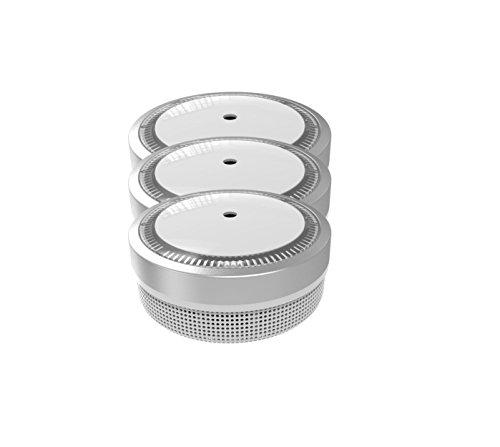 Jeising Mini Rauchmelder 3er Set - RWM100-Silber 10 Jahre Lithium Batterie - VDS geprüft