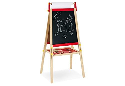 Pinolino Tafel Pablo, aus massivem Holz, werkzeugfrei höhenverstellbar, mit Tafel- und Whiteboard-Seite, inkl. Malpapierrolle, für Kinder ab 3 J.