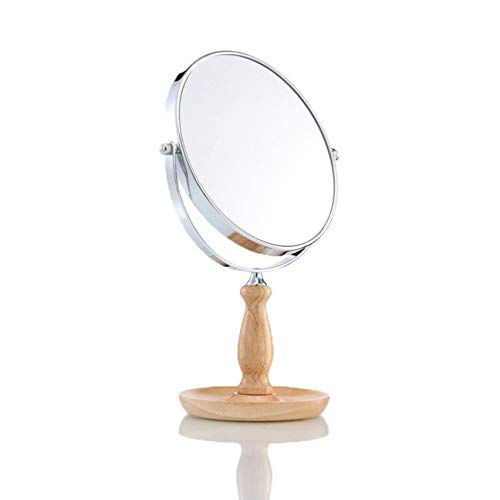 DONGYUER Make up Mirror The New Retro Desktop Princess HD Doppelseitige Round Solid Wood Base Storage Deluxe Edition 7 Zoll 8 Zoll,8inch -