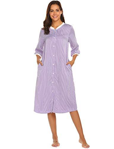 EKOUAER Damen gestreiftes nachtwäsche knopf dwon-haus-kleid kurz Ärmel duster nachtgown mittel lila