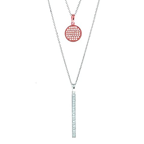 CRISLU Women's Rose Gold Plated 925 Sterling Silver Round Clear Cubic Zirconia Layered Circle and Bar Pendant Necklace of Length 40.64-45.73cm