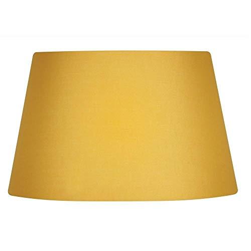 Paralume a tamburo, in cotone, colore giallo senape, con fodera rigida, da  25,4 cm, completo di giunto cardanico reversibile per agganciarsi a lampade  da