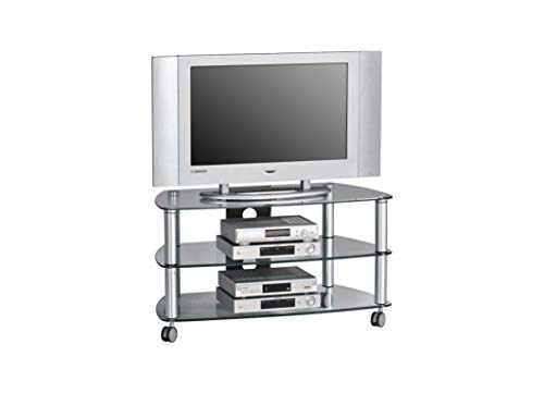 MAJA-Möbel 1610 9499 TV-Rack, Metall Alu - Klarglas, Abmessungen BxHxT: 95 x 52,8 x 51,4 cm