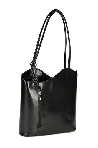 Belli ital. Leder Handtasche Backpack Damen Rucksack aus feinstem Leder in schwarz - 28x28x8 cm (B x H x T)