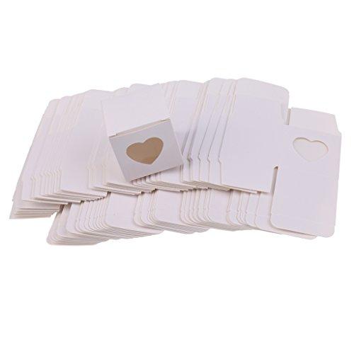 SM SunniMix 50x Kraftpapier Geschenkkarton Geschenkbox Geschenkschachtel mit Herz Bedruckt für Gastgeschenk Süßigkeiten Kekse und Schokolade - Weiß, 5 x 5 x 5 cm