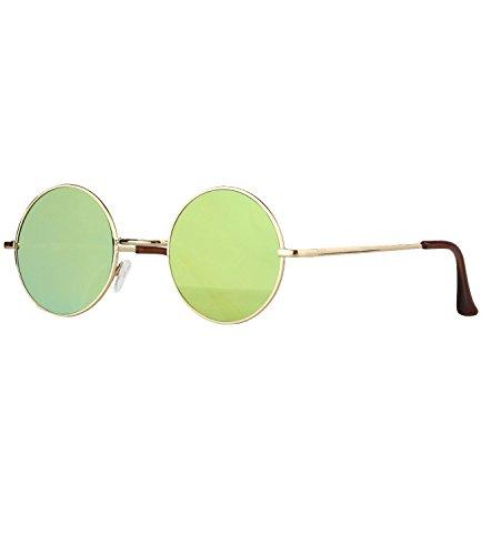 Caripe Lennon Retro Vintage Sonnenbrille Metall Damen Herren John Lennon rund Nickelbrille (Flat-1 -...