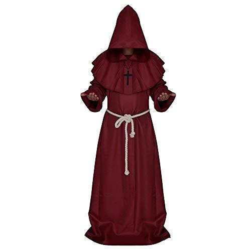 elalterliche Priester Mönch Robe mit Kapuze Cap Umhang Mönch Mittelalterliche Kapuze Mönch Renaissance Priester Robe Kostüm Cosplay Halloween-Kostüm/Partei verkleiden sich ()