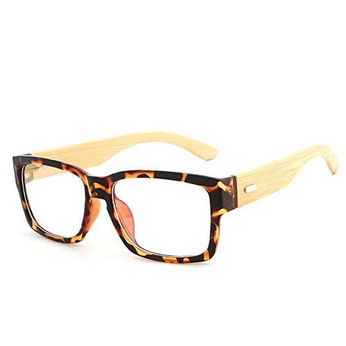 Herren Sonnenbrillen Einfache Gläser Handgemachte Natürliche Bambus Beine Brillengestell Männer Frauen Einfache Brillengestell LTJHJD (Color : 02Tea, Size : Kostenlos)