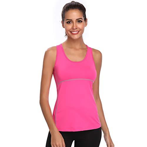 Joyshaper Training Top Damen Quick Dry Kompression Sport Tanktop Sportshirt Trainingsshirt Shirt T-Shirt für Yoga und Fitness Running Top Weste Vest (Pink, XX-Large) - Training Top T-shirt