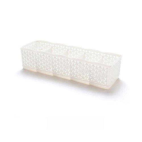 Fuibo Make up Organizer, 5 Zellen Kunststoff Organizer Aufbewahrungsbox Krawatte BH Socken Schublade Kosmetikteiler |Make-up Veranstalter Aufbewahrung Schublade Box (Weiß)
