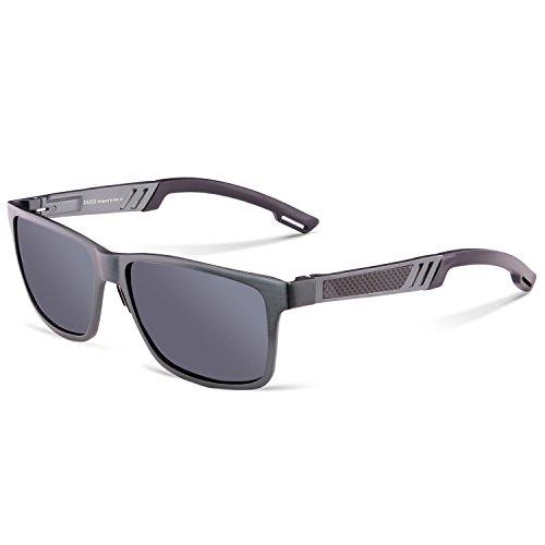 DUCO Rechteckig Sonnenbrille Herren Brille mit Federscharnier, Metallrahmen 2217 (Gestell: Gunmetal, Gläser: Grau)