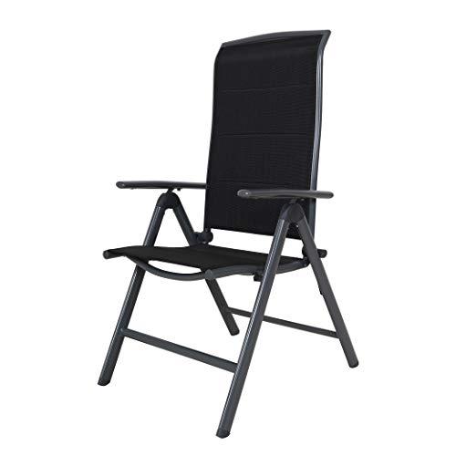 Strandgut 07 Gepolsteter Aluminium Klappsessel Hochlehner Deluxe Gartenstuhl Camping Stuhl 8-Fach verstellbar grau/schwarz