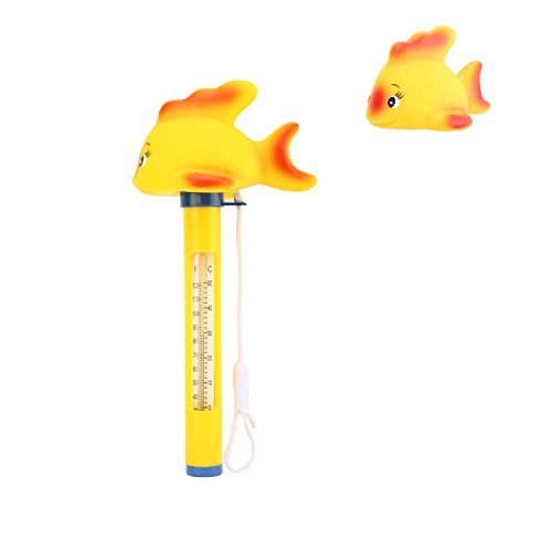 Housolution schwimmendes Pool-Thermometer, Badekurort-Swimmingpool-Thermometer, Baby-Pool-Karikatur-Wasser-Thermometer, Gelber Fisch